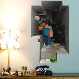 Minecraft Wall Art Stickers Cartoon Game Sticker Decoration Steve Minecart  For Kids Bedroom Decor