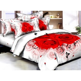 White and Red Rose Printed Cotton Duvet Cover