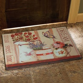 European Style Fancy Flower Vase and Butterfly Print Doormat