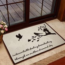 Elegant Birds and Letters Pattern Non-slip Doormat