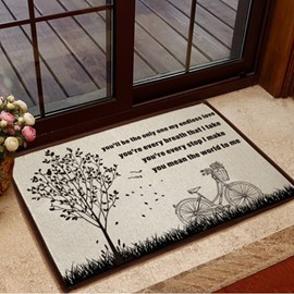 Glamorous Tree and Bike Pattern Non-slip Doormat