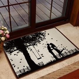 Glamorous Romantic Lovers under the Tree Pattern Non-slip Doormat