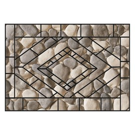 Pretty Irregular Cobblestones Pattern Non-slip Flocking Doormat