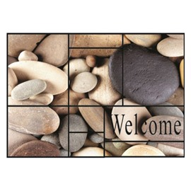Amazing Welcome and Cobblestones Pattern Non-slip Flocking Doormat