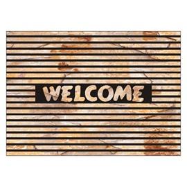 Retro Welcome and Lines Design Non-slip Flocking Doormat