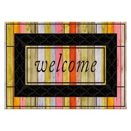 Retro Beautiful Color Welcome Design Non-slip Flocking Doormat