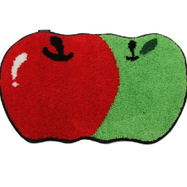 Super Lovely Green and Red Apples Design Water Absorption Non-slip Mat