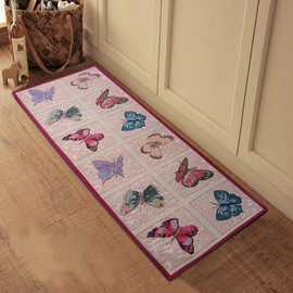 Amazing Butterflies Pattern Anti-slip Kitchen Area Rug  With Jacket/Shawl