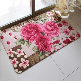 Wonderful Warm Fiber Three-Roses Pattern Decorative Doormat