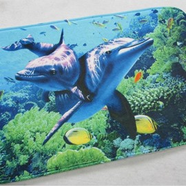 Lovely Rectangle Dolphin and Fish Sea World Pattern 3D Doormat