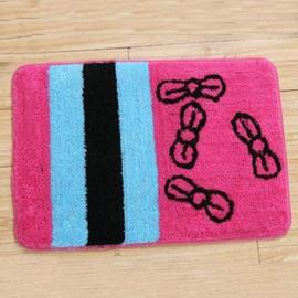Popular Rectangular Pink Bowknot Non-Slip Doormat