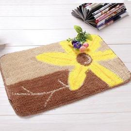 Fantastic Fibers Rectangular Yellow Flower Doormat