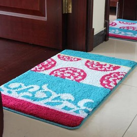 Top Quality Suede Blue Flower Rectangular Doormat