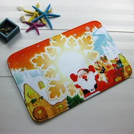 Festival Merry Christmas Snowflake and Santa Claus Anti-Slipping Doormat