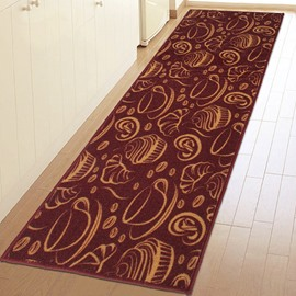 Unique Coffee and Bread Pattern Kitchen Anti-Slipping Area Rug
