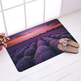 Amazing Lavendar Field in Sunset Glow Anti-Slipping Doormat