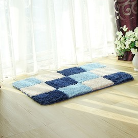Blue and White Gridiron Pattern Home Decorative Doormat
