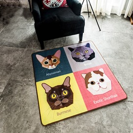 Cute Fashion Square Polyester Fibre Cats Area Rug
