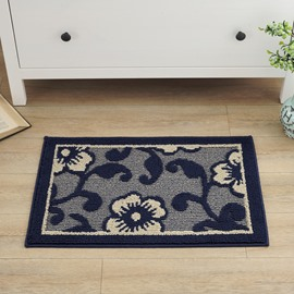 Amazing Rectangle Polypropylene Fiber Flower Pattern Flower Pattern Doormat