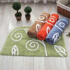 Delicate Hand-Knitted Leaf Pattern Cotton Chenille Slip Resistant Doormat