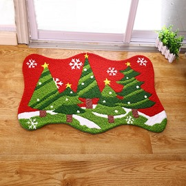 Cute Christmas Tree Pattern Christmas Theme Anti-Slip Acrylic Rug