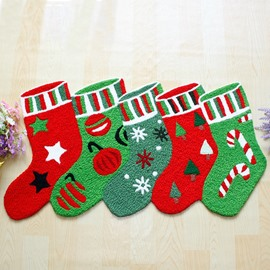Cute Christmas Sock Pattern Christmas Theme Anti-Slip Acrylic Rug