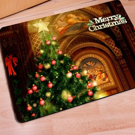 Elegant Rectangle Modern Design Christmas Tree Pattern Non Slip Doormat