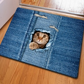 Realistic Rectangle Cute Cat Pattern Home Decorative Non Slip Doormat