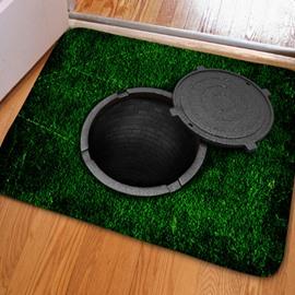 Modern Design Creative Manhole Cover Print Non Slip Doormat