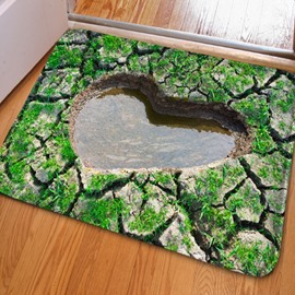 Country Style Dry Land with a Heart Shaped Water Print Non Slip Doormat