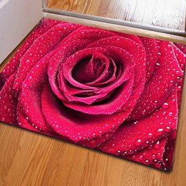 Splendid Rectangle Fresh Roses Print Christmas Decoration Non Slip Doormat