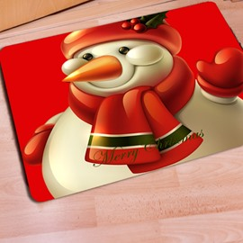 Unique Design Beautiful Snowman Print Non Slip Christmas Decorative Doormat
