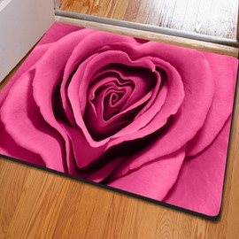 Pink Rectangle Romantic Roses Print Christmas Decorative Non Slip Doormat