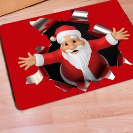 Red Rectangle Warm Santa Claus Print Christmas Decoration Doormat