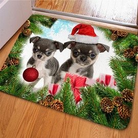 Lovely Christmas Decorative Cut Dogs and Pine Print Non Slip Doormat