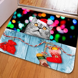 Amusing Rectangle Cat Pattern Christmas Decoration Non Slip Doormat