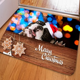 Rectangle Sparkling Logy Dog Print Christmas Decoration Non Slip Doormat