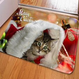 Amazing Rectangle Merry Christmas and Cute Little Cat Print Non Slip Doormat
