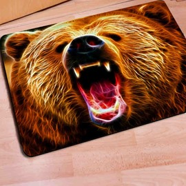 Rectangle Fearsome Bear Print Outdoor Indoor Non Slip Entrance Doormat
