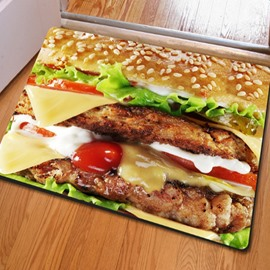 Fancy Rectangle Delicious Food Print Outdoor Indoor Non Slip Entrance Doormat