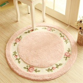 Round Pink Country Style Flower Decoration Soft Washable Area Rug