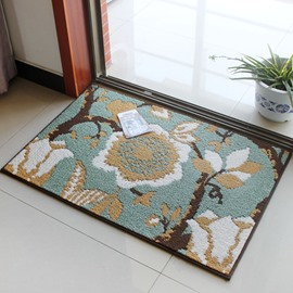 Stunning Rectangle Flower Pattern Skid Resistance Home Decorative Doormat