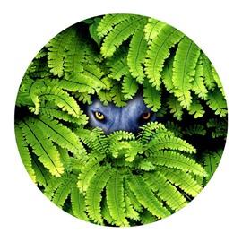 Wolf Eyes Hiding behind Green Leaves Pattern PVC Round Nonslip Doormat