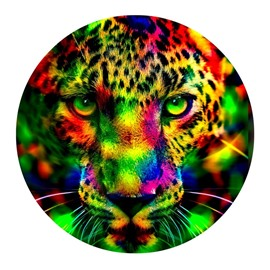 Colorful Leopard with Green Eyes Pattern PVC Water Absorption and Nonslip Doormat