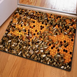 16×24in Bees in Beehive Rubber and Felt Water Absorption and Nonslip 3D Doormat