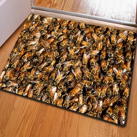 16×24in Crowded Bees Rubber and Felt Water Absorption and Nonslip 3D Doormat