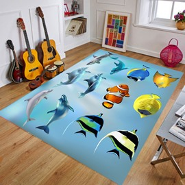Waterproof Machine Made Crystal Velvet Cartoon Style Area Rug