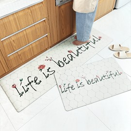 Ins Style PVC Marbling Kitchen Waterproof Anti-Slip Area Rug