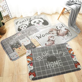Waterproof Country Style PVC Rectangle Hand Wash Area Rug