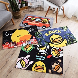 Cartoon Style Yellow Duck Polyester Rectangle Area Rug